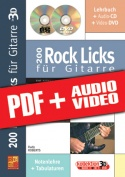 200 Rock Licks für Gitarre in 3D (pdf + mp3 + videos)