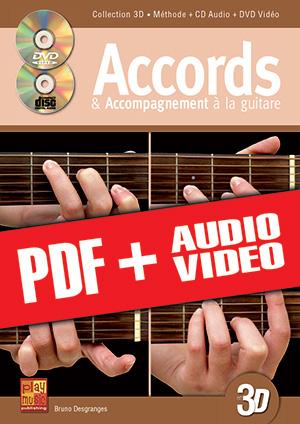 Accords & accompagnement à la guitare en 3D (pdf + mp3 + vidéos)