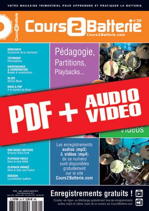 Cours 2 Batterie n°30 (pdf + mp3 + vidéos)