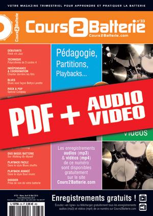 Cours 2 Batterie n°33 (pdf + mp3 + vidéos)