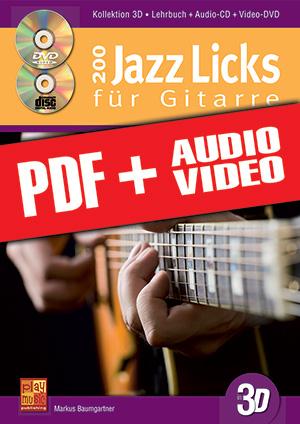 200 Jazz Licks für Gitarre in 3D (pdf + mp3 + videos)