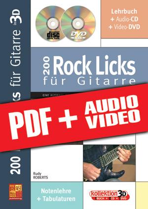 200 Rock Licks für Gitarre in 3D (pdf + mp3 + videos)