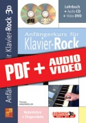 Anfängerkurs für Klavier-Rock in 3D (pdf + mp3 + videos)