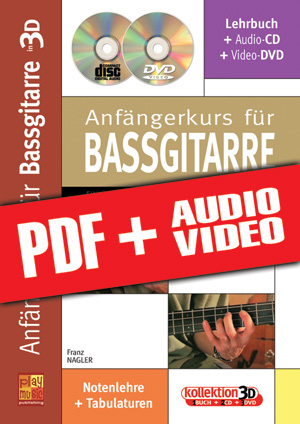Anfängerkurs für Bassgitarre in 3D (pdf + mp3 + videos)