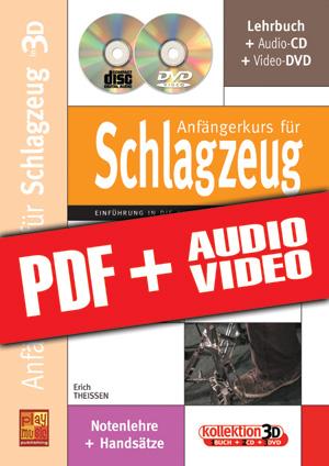 Anfängerkurs für Schlagzeug in 3D (pdf + mp3 + videos)