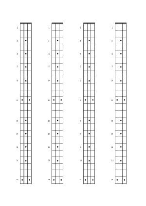 Bassgitarre (24-Bund-Diagramme)