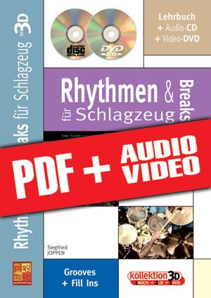 Rhythmen und Breaks für Schlagzeug in 3D (pdf + mp3 + videos)
